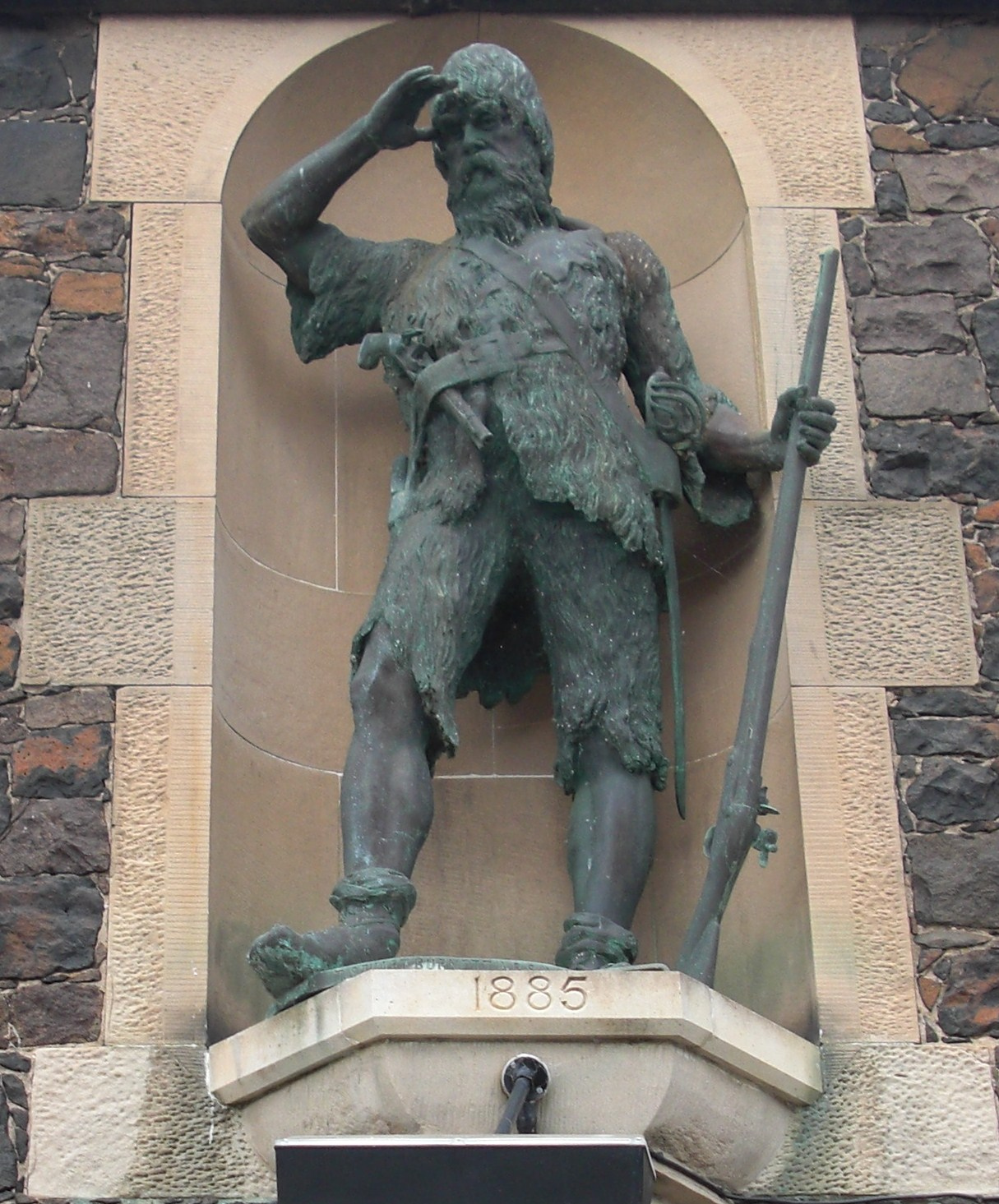 Statue of Alexander Selkirk at the site of his original house on Main Street, Lower largo Fife, Scotland