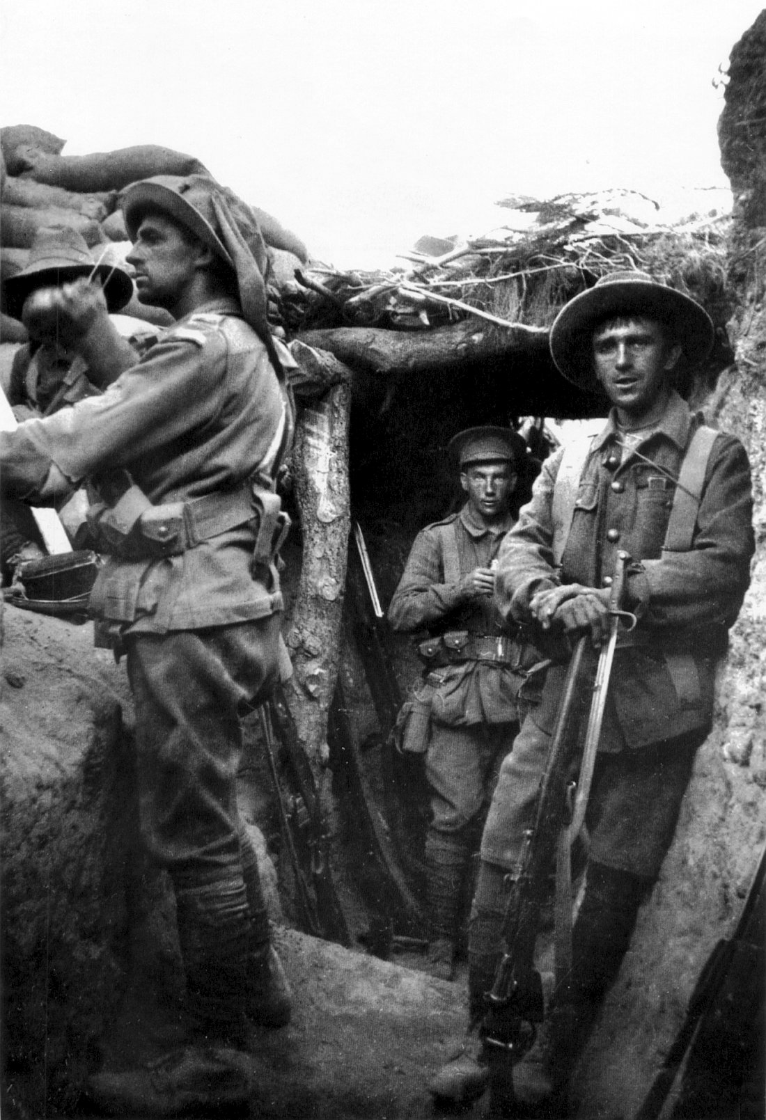 Infantry from the Australian 1st Brigade in a captured Turkish trench at Lone Pine, 6 August 1915, during the Battle of Gallipoli. Also present are members of the 7th Battalion, of the 2nd Brigade.