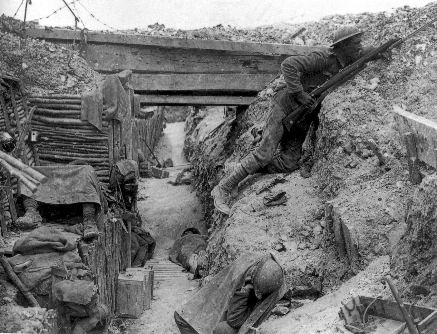 A German trench occupied by British Soldiers near the Albert-Bapaume road at Ovillers-la-Boisselle, July 1916 during the Battle of the Somme. The men are from A Company, 11th Battalion, The Cheshire Regiment.