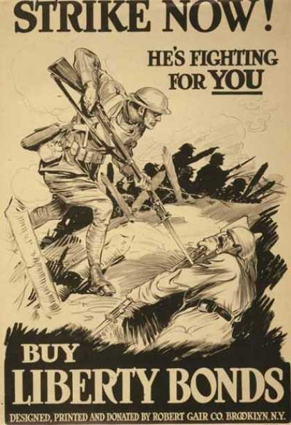 Poster 'Strike Now!' - US Propaganda First Worldwar